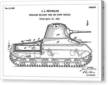 Patent Drawing For The 1943 Insulated Military Tank And Other Vehicle By J. L. Reynolds Canvas Print by Jose Elias - Sofia Pereira