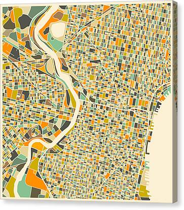 City Streets Canvas Print - Philadelphia Map by Jazzberry Blue