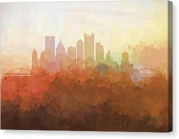 Canvas Print featuring the digital art Pittsburgh Pennsylvania Skyline by Marlene Watson