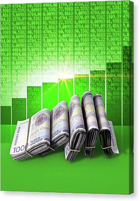 Positive Market Money Canvas Print