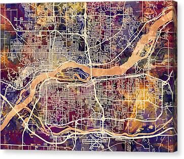Quad Cities Street Map Canvas Print by Michael Tompsett