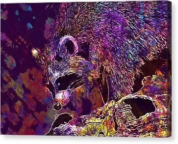 Canvas Print featuring the digital art Raccoon Wild Animal Furry Mammal  by PixBreak Art