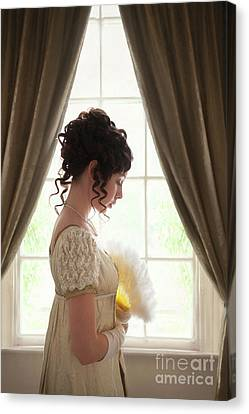 Canvas Print featuring the photograph Regency Woman At The Window by Lee Avison