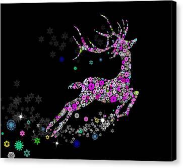 Ornate Canvas Print - Reindeer Design By Snowflakes by Setsiri Silapasuwanchai