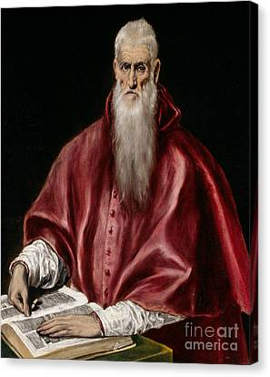 Saint Jerome As Scholar Canvas Print by El Greco
