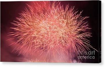 Pyrotechnics Canvas Print - Spectacular Fireworks Show Light Up The Sky. New Year Celebration. by Michal Bednarek