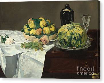 Glass Bottle Canvas Print - Still Life With Melon And Peaches by Edouard Manet