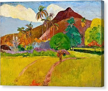 Colonial Man Canvas Print - Tahitian Landscape by Paul Gauguin