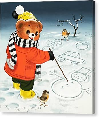 Teddy Bear Christmas Card Canvas Print by William Francis Phillipps