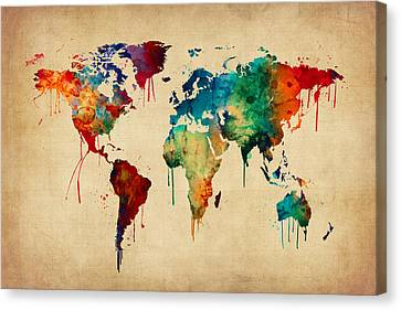 Watercolor Map Of The World Map Canvas Print