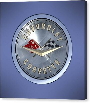 1960 Canvas Print - 60 Chevy Corvette Emblem  by Mike McGlothlen