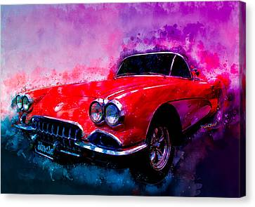 1960 Canvas Print - 60 Red Corvette Watercolour Illustration by Chas Sinklier
