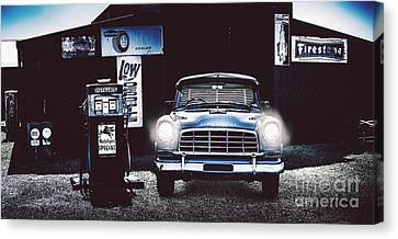 60s Australian Fc Holden Parked At Old Garage Canvas Print