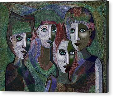 Canvas Print featuring the digital art 649 - Gauntly Ladies by Irmgard Schoendorf Welch