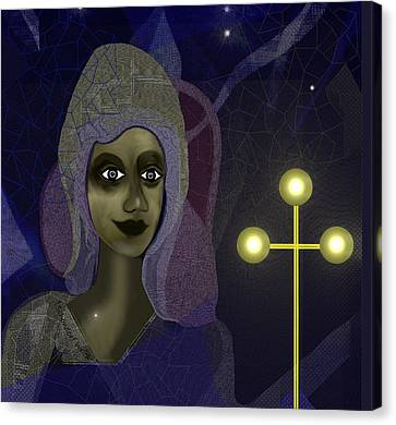 Canvas Print featuring the digital art 673 - Young Lady With Cross by Irmgard Schoendorf Welch