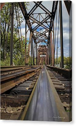 6th Street Reflections Augusta Georgia Trestle Bridge Canvas Print by Reid Callaway