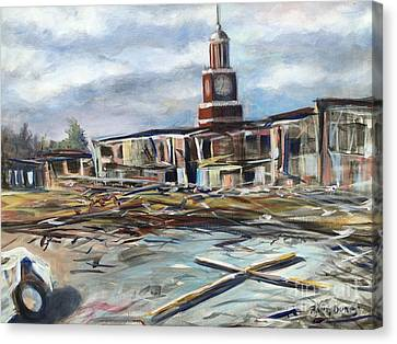 Canvas Print featuring the painting Union University Jackson Tennessee 7 02 P M by Randol Burns