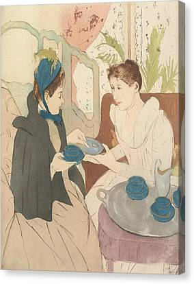 Afternoon Tea Party Canvas Print by Mary Cassatt