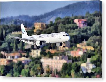 Airlines Canvas Print - Arriving At Corfu Airport by George Atsametakis