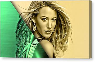 Blake Lively Collection Canvas Print by Marvin Blaine