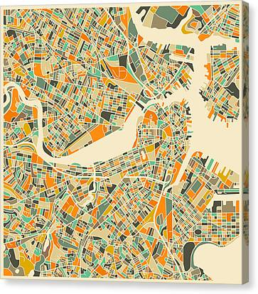 Boston Map Canvas Print by Jazzberry Blue