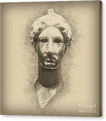 Bronze Head Of Nike  Canvas Print by Humorous Quotes
