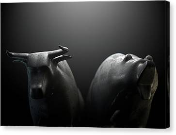 Confronting Canvas Print - Bull Versus Bear by Allan Swart