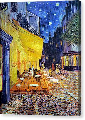 Cafe Terrace At Night Canvas Print by Vincent Van Gogh