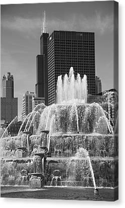 Chicago Skyline And Buckingham Fountain Canvas Print by Frank Romeo