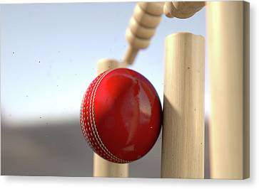 Cricket Canvas Print - Cricket Ball Hitting Wickets by Allan Swart