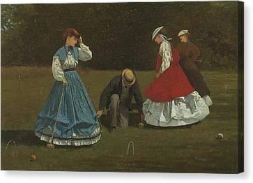 Croquet Scene Canvas Print by Winslow Homer