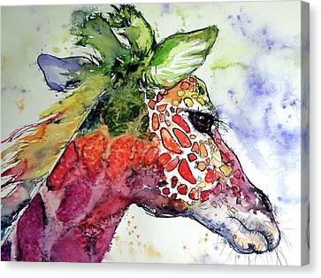 Canvas Print featuring the painting Giraffe  by Kovacs Anna Brigitta