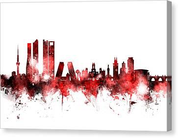Michael Canvas Print - Madrid Spain Skyline by Michael Tompsett