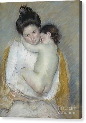 Caring Mother Canvas Print - Mother And Child by Mary Stevenson Cassatt