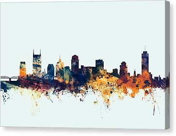 Nashville Tennessee Skyline Canvas Print by Michael Tompsett