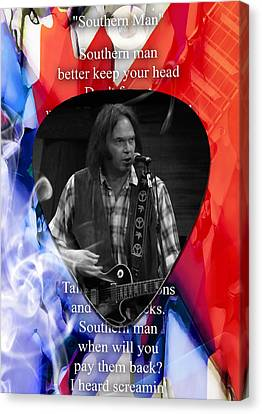 Neil Young Canvas Print - Neil Young Art by Marvin Blaine
