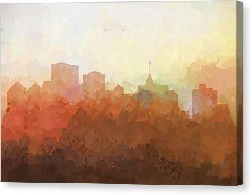 Canvas Print featuring the digital art Oakland California Skyline by Marlene Watson