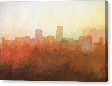 Canvas Print featuring the digital art Omaha Nebraska Skyline by Marlene Watson