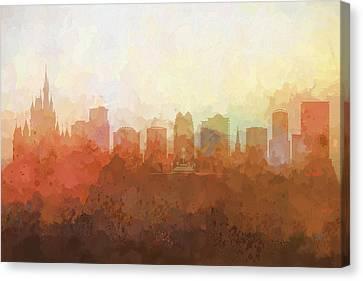 Canvas Print featuring the digital art Orlando Florida Skyline by Marlene Watson
