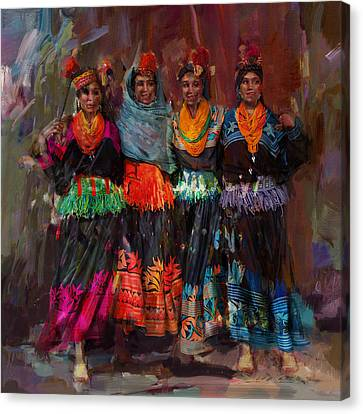 Punjab Canvas Print - 7-pakistan Folk Chitraal by Maryam Mughal