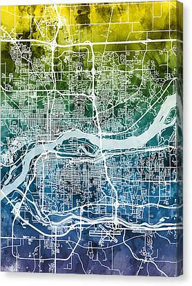 Quad Cities Street Map Canvas Print