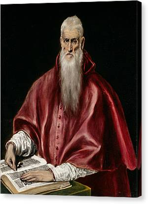 Saint Jerome As Scholar Canvas Print by El Greco