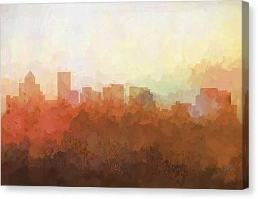 Canvas Print featuring the digital art Salem Oregon Skyline by Marlene Watson