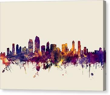 Michael Canvas Print - San Diego California Skyline by Michael Tompsett