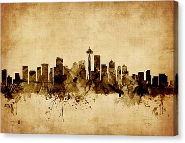 Seattle Skyline Canvas Print - Seattle Washington Skyline by Michael Tompsett