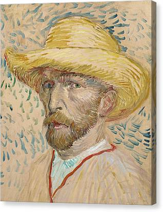 Self Portrait With Straw Hat Canvas Print by Vincent van Gogh