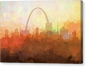 Canvas Print featuring the digital art St Louis Missouri Skyline by Marlene Watson