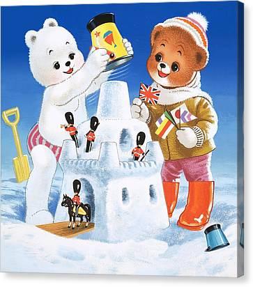 Snow Flag Canvas Print - Teddy Bear Christmas Card by William Francis Phillipps