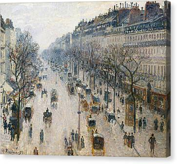 The Boulevards Canvas Print - The Boulevard Montmartre On A Winter Morning by Camille Pissarro