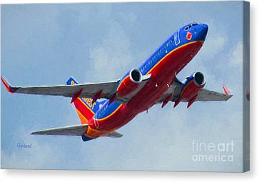 737 In Flight.  Canvas Print by Garland Johnson